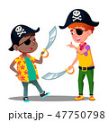 African And White Kids Play Pirates And Fighting With Sabers In Pirate Caps Vector. Isolated 47750798