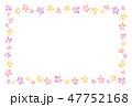花のフレーム 水彩 暖色 47752168