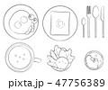 洋風朝食セット-線画 47756389