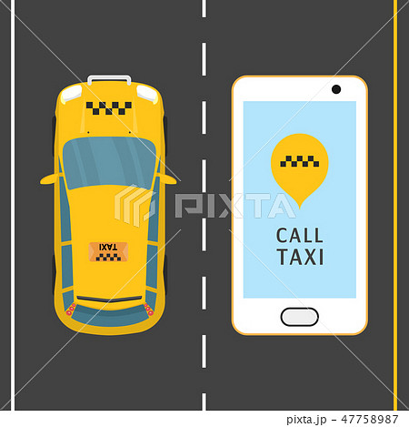 Mobile phone with taxi service banner vector illustration. Taxi service application on a screen 47758987