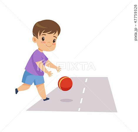Little Boy Playing Ball on Road, Kid in Dangerous Situation Vector Illustration 47759326