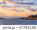夕暮れ 富士山 海の写真 47760186