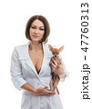 Sexually vet doctor woman on isolated white background with dog. Caucasian woman veterinarian medic 47760313