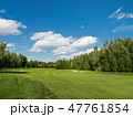 Countryside golf course. Green cutted grass 47761854