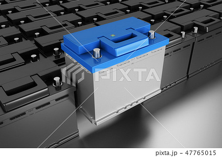 3D rendering. Car battery on grey background. 47765015