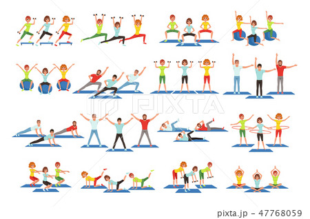 Set of people working out in gym. Young girls and guys doing exercises. Physical activity. Healthy 47768059