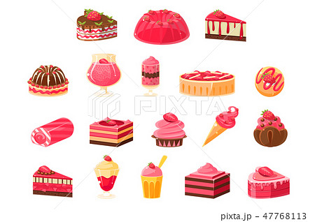 Pink sweets and desserts big set, cupcakes, ice cream, cakes with strawberry flavor vector 47768113