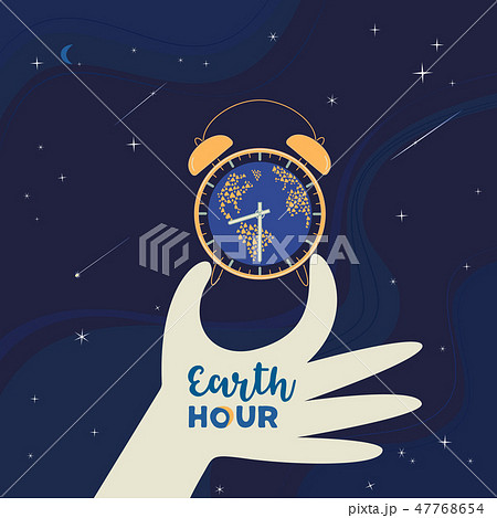 Earth hour day social poster with hand drawn cartoon 47768654