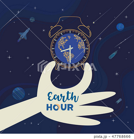 Earth hour day social poster with hand drawn cartoon 47768666