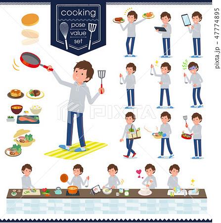 flat type men grey foodie sportswear_cooking 47774895