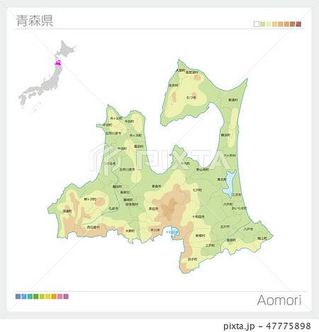 青森県の地図(等高線・色分け・市町村・区分け) 47775898