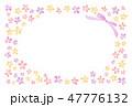 花のフレーム 水彩 暖色 47776132