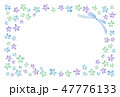 花のフレーム 水彩 寒色 47776133