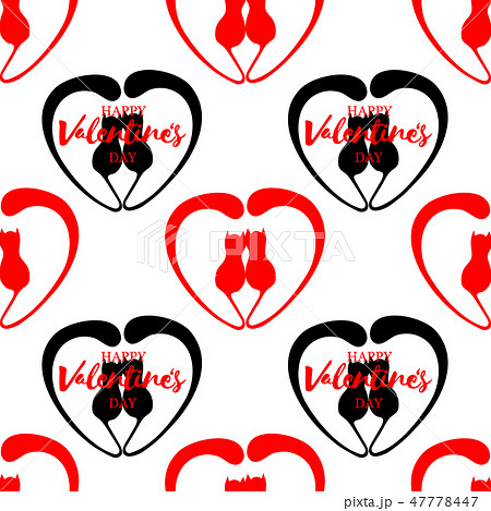 Romantic seamless pattern with hearts and kittens. Lettering Happy Valentine Day 47778447