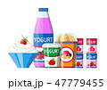 ヨーグルト ベリー ミルクのイラスト 47779455