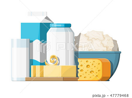 Milk products set with cheese, cottage and butter. 47779468
