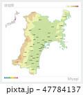 宮城県の地図(等高線・色分け・市町村・区分け) 47784137