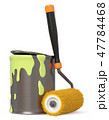 iron jar with paint and paint roller 47784468