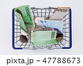 Shopping basket with coins and korean won bills  47788673