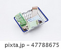 Shopping basket with coins and korean won bills  47788675