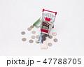 Shopping trolley bring money coins and korean bill 47788705
