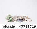 Stack of korean won and coins isolated 47788719