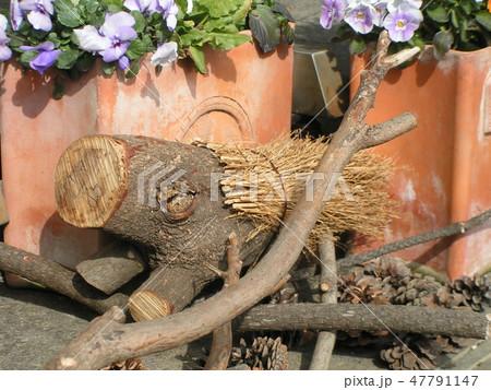 木材の子イノシシのオブジェ 47791147