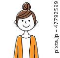 人物 女性 白背景のイラスト 47792599