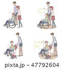 カフェ店員 声かけ 肢体障害者のイラスト 47792604