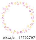 花のフレーム 水彩 暖色 丸 47792797