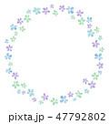 花のフレーム 水彩 寒色 丸 47792802