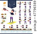 男性 スポーツウエア 料理のイラスト 47796389