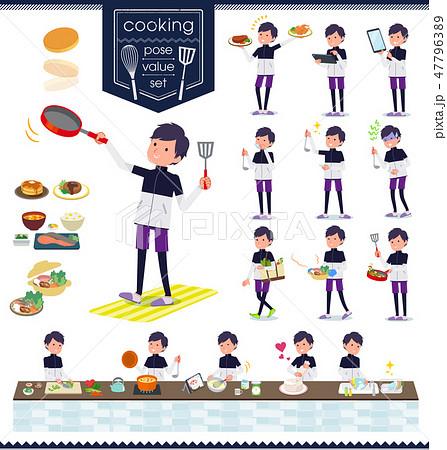 flat type man B&W sportswear_cooking 47796389
