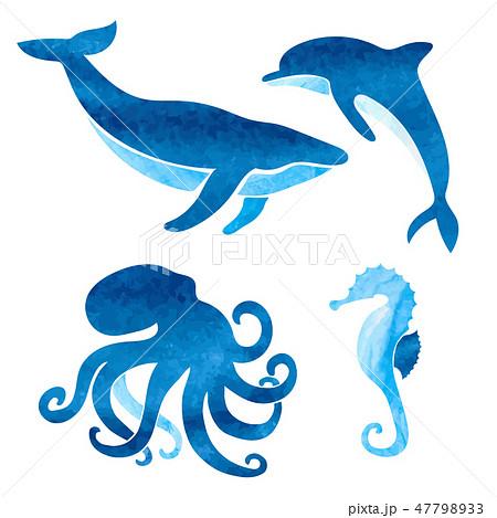 Watercolor sea animals set. 47798933