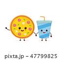 ファストフード ピザ ピッツァのイラスト 47799825