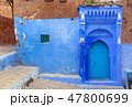 Blue door on street in Chefchaouen 47800699