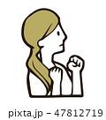 ガッツポーズ 頑張る やる気のイラスト 47812719