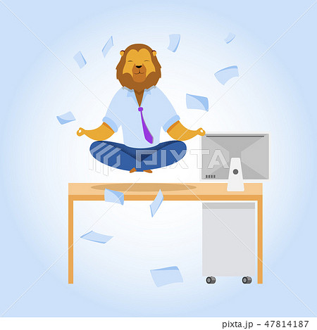 Office Worker with Lion Head Meditating Clipart 47814187