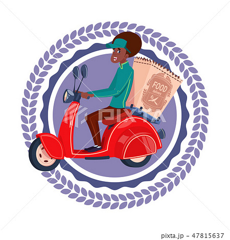 Fast Delivery Service Icon Isolated African American Woman Deliver Grocery On Retro Scooter Template 47815637