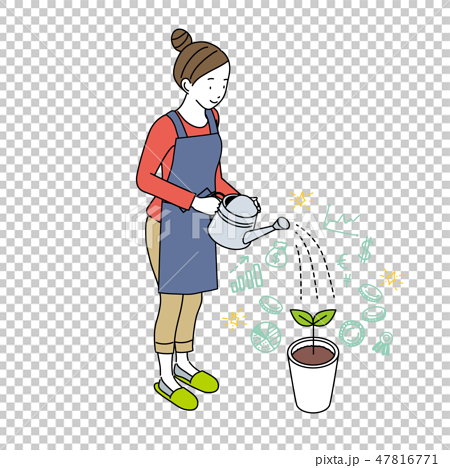 做澆灌的資產管理圖像例證的婦女 47816771