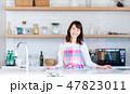 主婦 キッチン 女性の写真 47823011