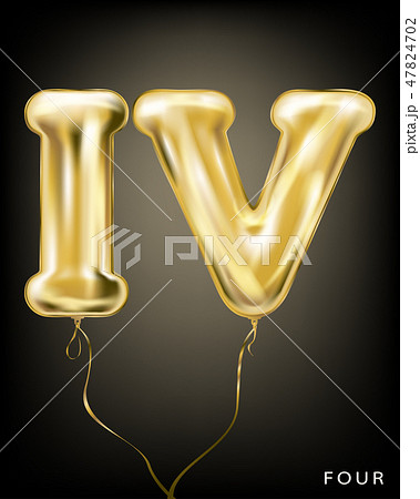 Roman 4 number, gold foil balloon IV form 47824702