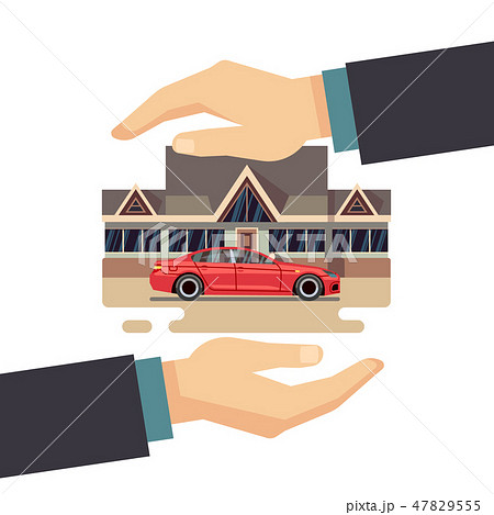 Insurance business vector concept. protect of property, house, car, money. 47829555