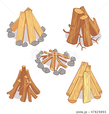 Wood stacks and hardwood firewood, wooden logs cartoon vector set 47829893