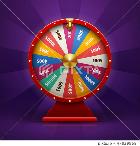 Realistic 3d spinning fortune wheel, lucky roulette vector illustration 47829968