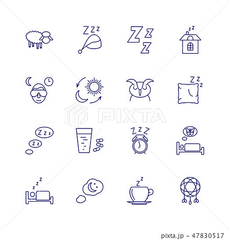 Sleeping icons isolated on white background. Relax and night rest vector signs 47830517