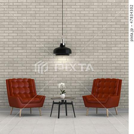 Living room interior in modern style, 3d render 47834302
