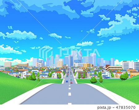 街 道路 住宅街 都市 青空 風景 47835070