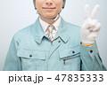 作業員 (業者 メンテナンス 修理 建築 建設 ビジネス 青背景 ブルーバック コピースペース) 47835333