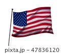 星条旗のイメージ(白バック) 47836120